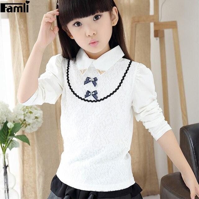 2017 Teenange Girls School White Blouses 6Y-12Y Kids Fashion Peter Pan Patchwork Cotton Long Sleeve Shirt Brand Camisa Nino