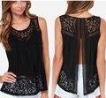 Mulheres Tops Casual 2015 Estilo Verão Blusa Para As Mulheres Camisa de Renda 4XL Plus Size Sem Mangas Tanque Cardigan blusa feminina AE69
