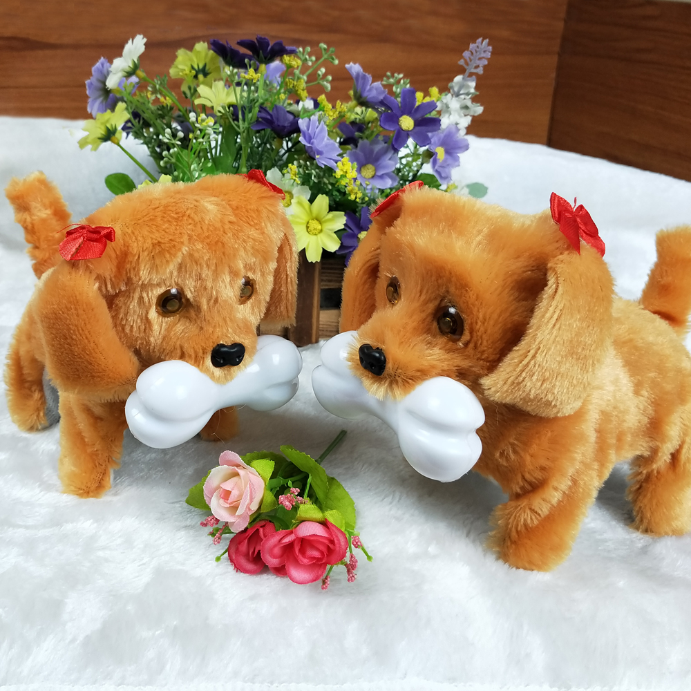 FRee Shipping New Fashion Walking Barking Toy High Quality Funny Electric Short Floss Dog Toys Electric Pets Dog Moving Dog