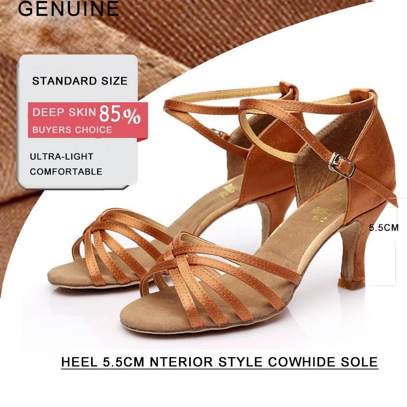 Women Latin dance shoes Mid heel Cowhide soft bottom Black satin Sports shoe latin Indoor dedicated Factory cheap wholesale Hot