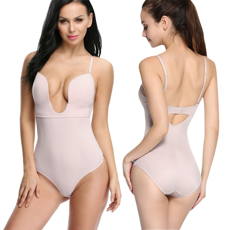 49e4153cbdc83 NINGMI Slimming Body Shaper Lady Party Dress Underwear Sexy U Plunge Bra  Control Panties Bodysuit Shapewear Waist Trainer Corset