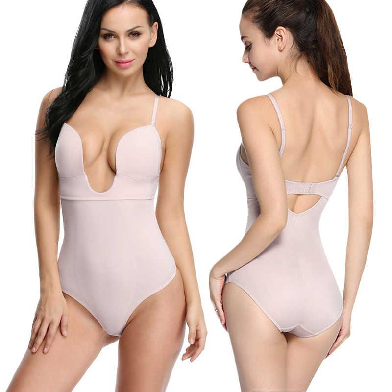 7d26126e3 NINGMI Slimming Body Shaper Lady Party Dress Underwear Sexy U Plunge Bra  Control Panties Bodysuit Shapewear