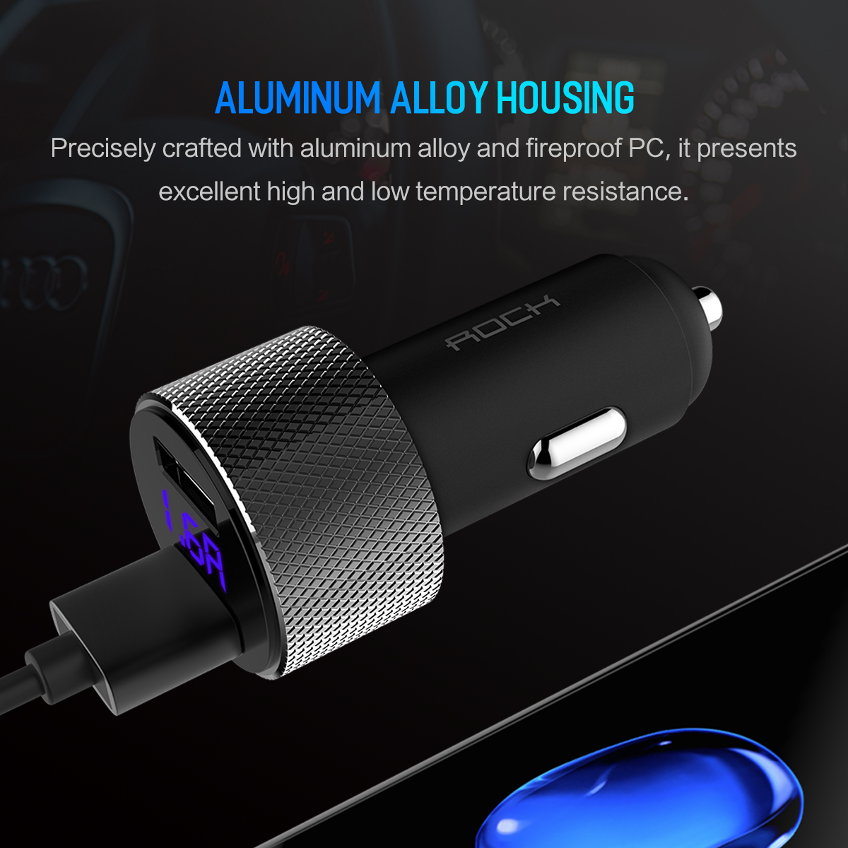 HTB1DELJjpooBKNjSZPhq6A2CXXaT - ROCK 5V 3.4A Metal Dual USB Car Charger Digital Display For iPhone X 8 XS MAX 7 Xiaomi Samsung Fast Charging Voltage Monitoring