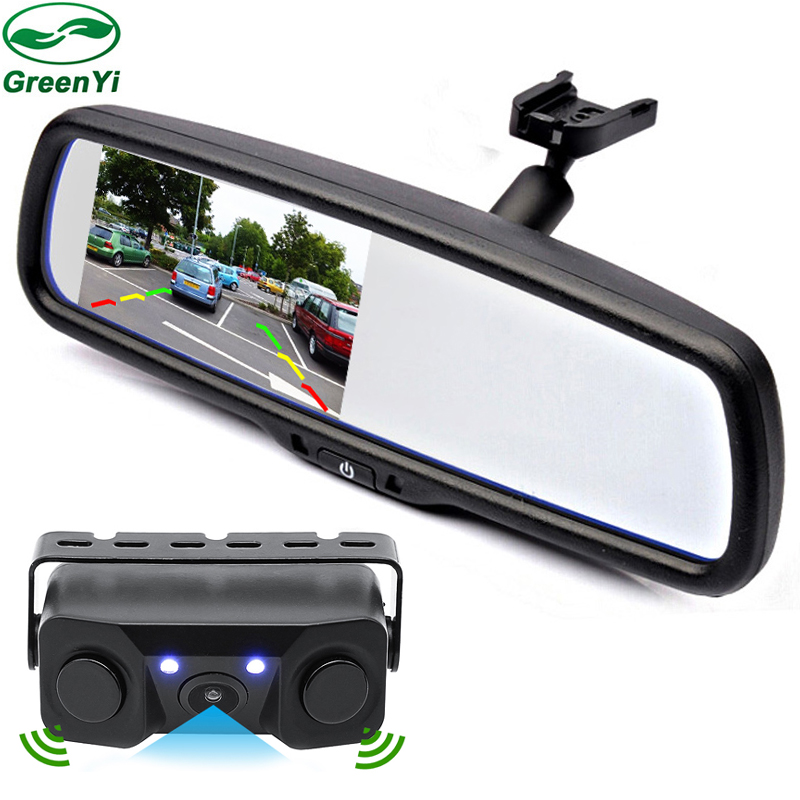 greenyi 2in1 original bracket 4 3 car room interior mirror parking monitor with rear view. Black Bedroom Furniture Sets. Home Design Ideas