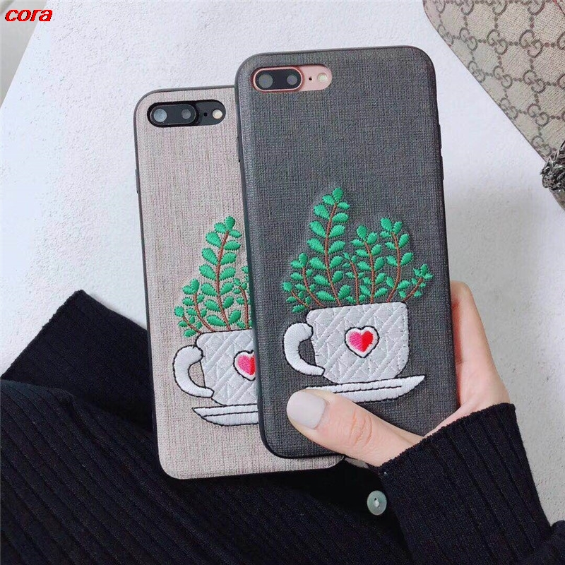 Embroidery Korea Plant Flower Phone Case Pink Pu Soft Tpu Protective Case for Iphone X 6/6s 6plus 7 8 Plus Cover