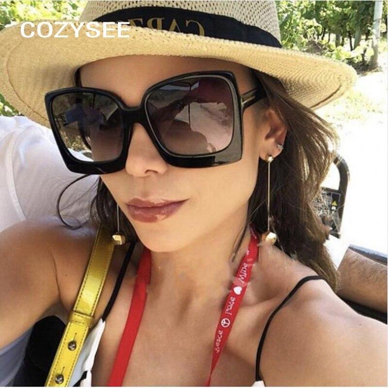 Sunglasses Women Big Shades Vintage Summer-Style Ladies Luxury Brand Designer Square
