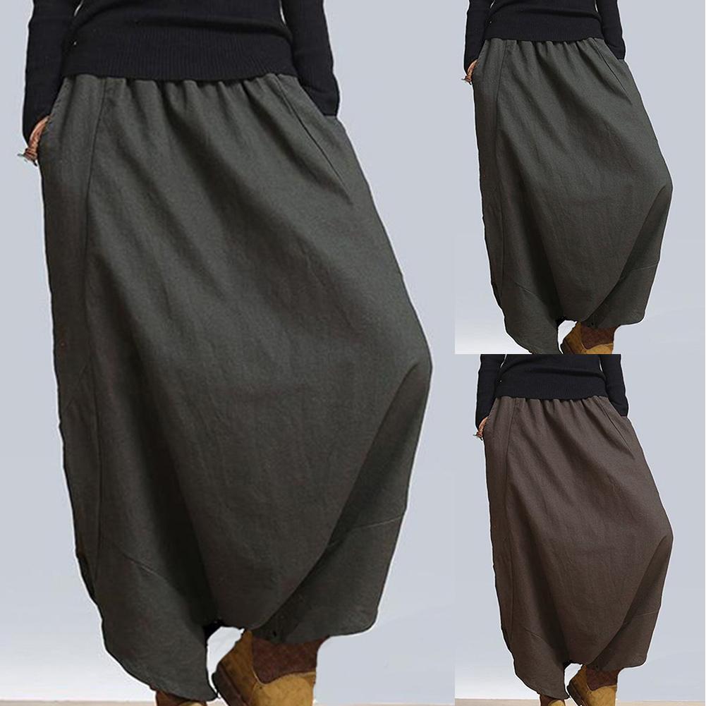 New Fashion Women Solid Color Elastic Waist Baggy Long Trousers  Harem Pants