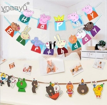 Ynaayu 1set Ευτυχισμένο το γενέθλιο Banner Υπέροχο χοίρου Hanging Γιρλάντες Pastel Ροζ String Σημαίες Birthday Party Decore