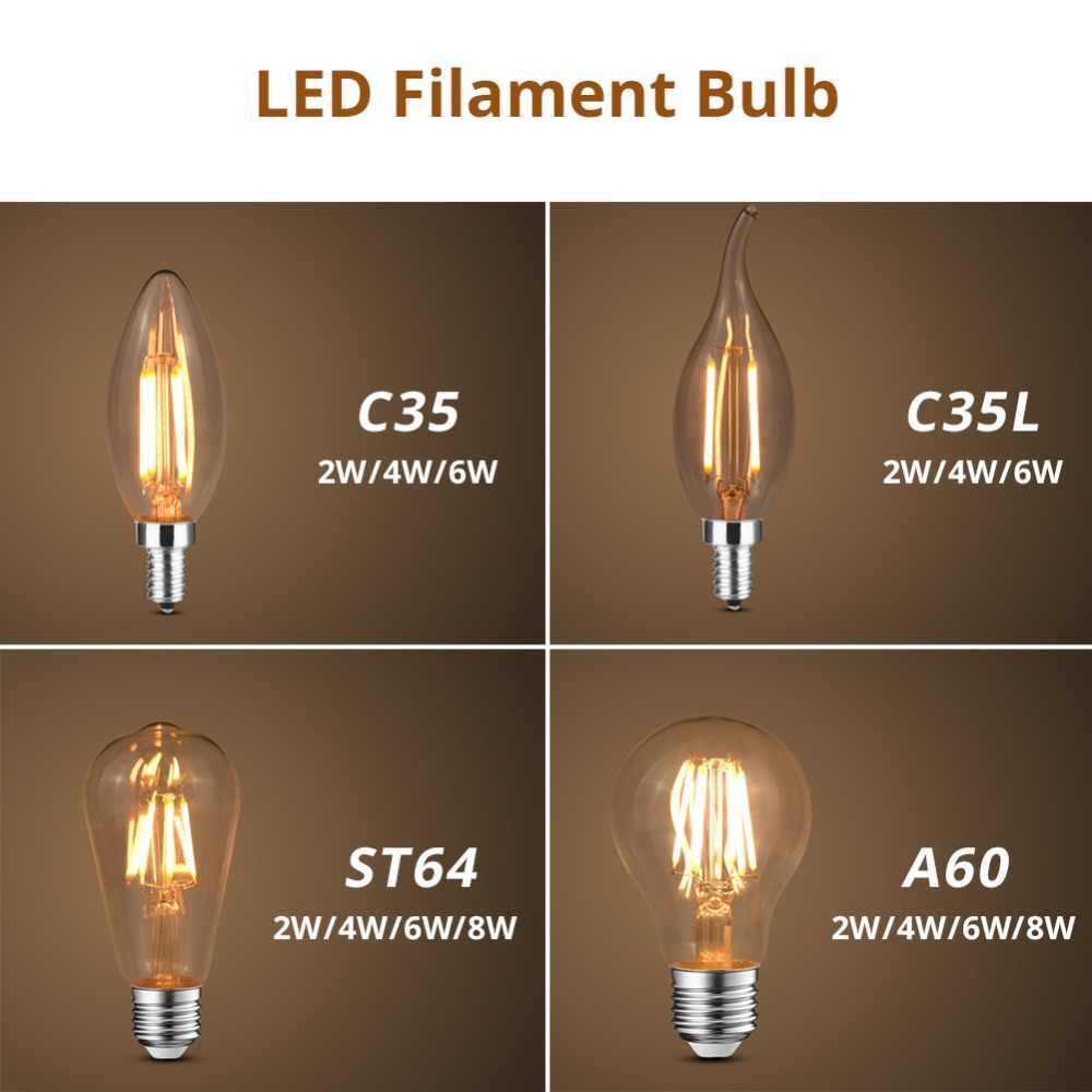 LED מנורת אדיסון אור הנורה בציר קישוט E27 E14 220 V COB LED נימה מנורת רטרו נר אור להחליף ליבון נורות