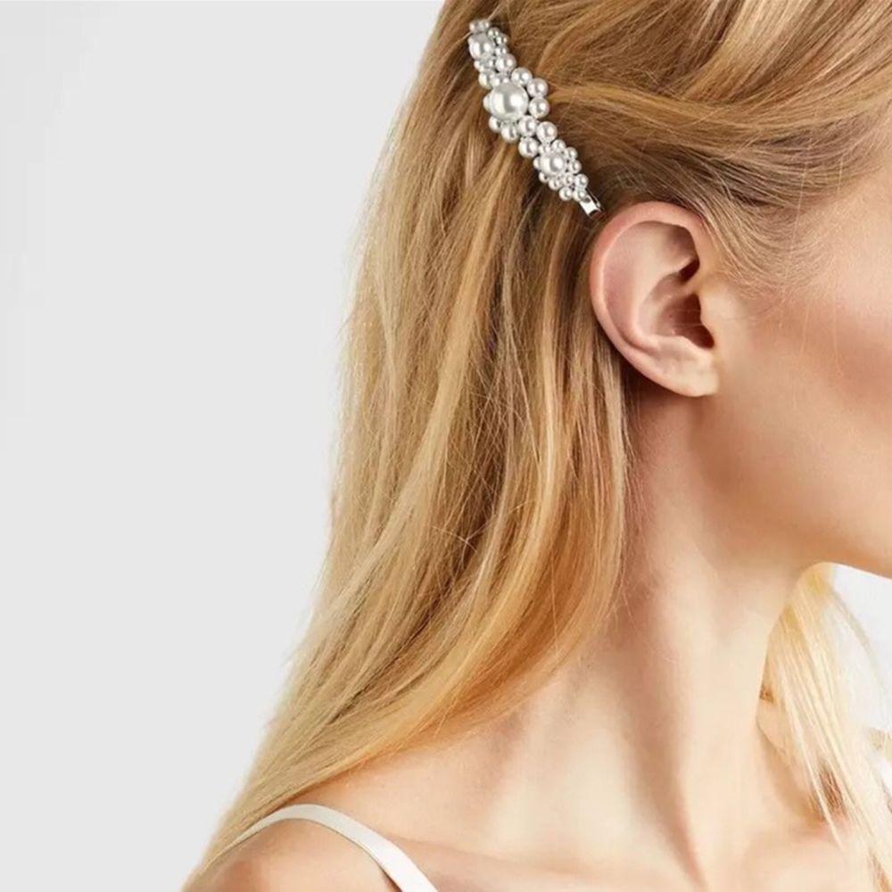 Hot Sale 5 Colors Korean Crystal Pearl Elegant Women Barrette Hair Clip Hairgrips Fashion Hair Jewelry Accessories Gift