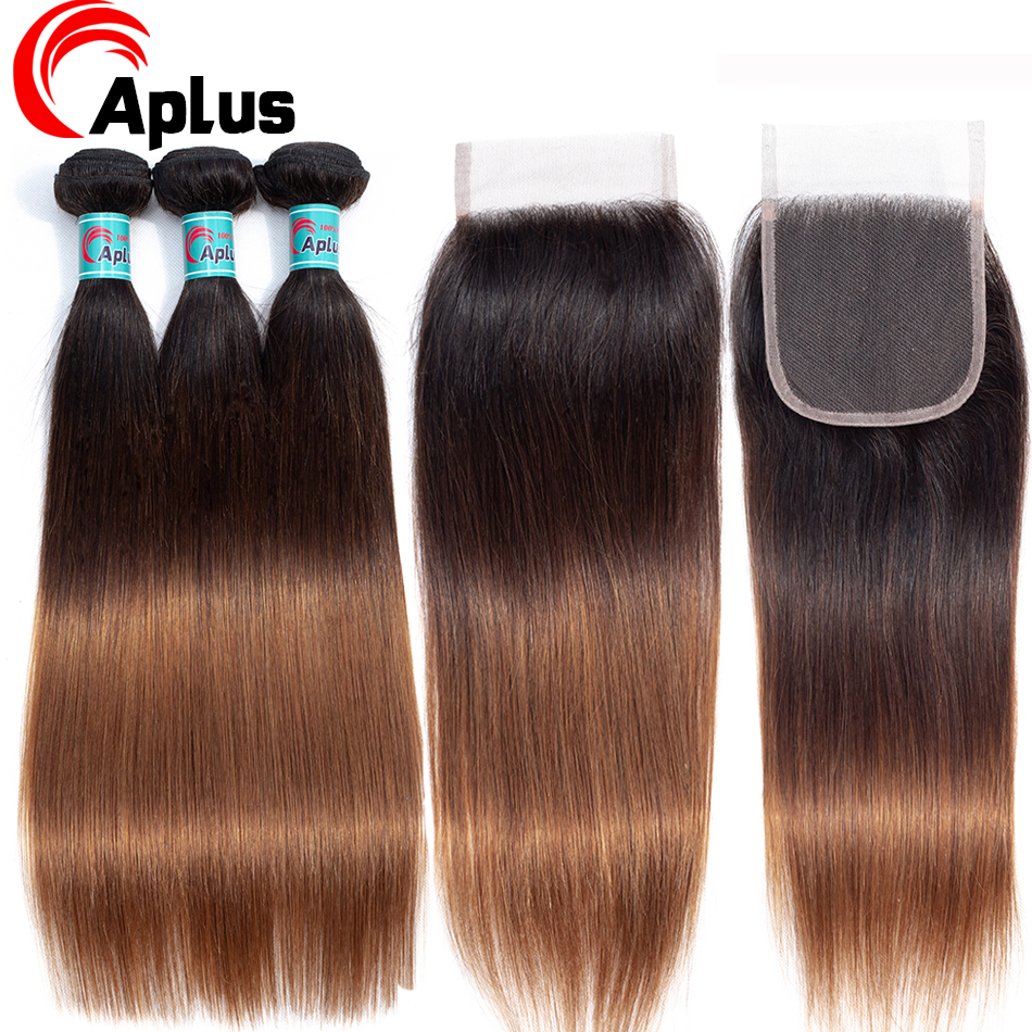 T1B/4/30 Ombre Peruvian Straight Hair Bundles With Closure Dark Root Aplus Non-Remy 3 Human Hair Bundles With Closure 4Pcs/lot
