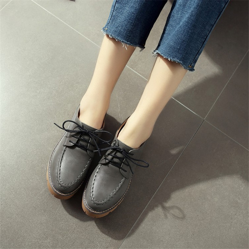 Plus Size 34 43 British Style Women Oxfords Spring Lace Up Round Toe Casual Ladies Fashion Vintage Platform Shoes Woman Casual in Women 39 s Pumps from Shoes