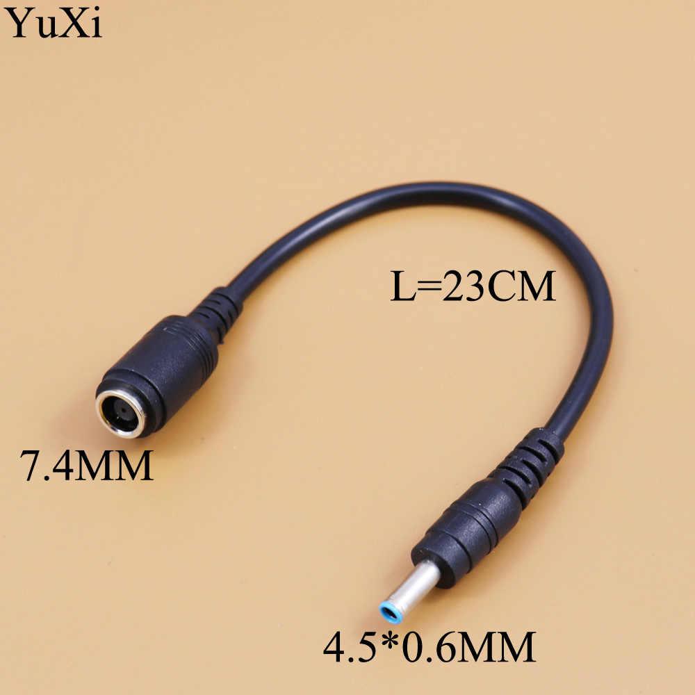 Юйси DC разъем 7,4*5,0 мм Женский до 4,5*3,0 4,5*0,6 мм мужской синий DC Мощность кабель с переходником для зарядного устройства для hp ультрабук