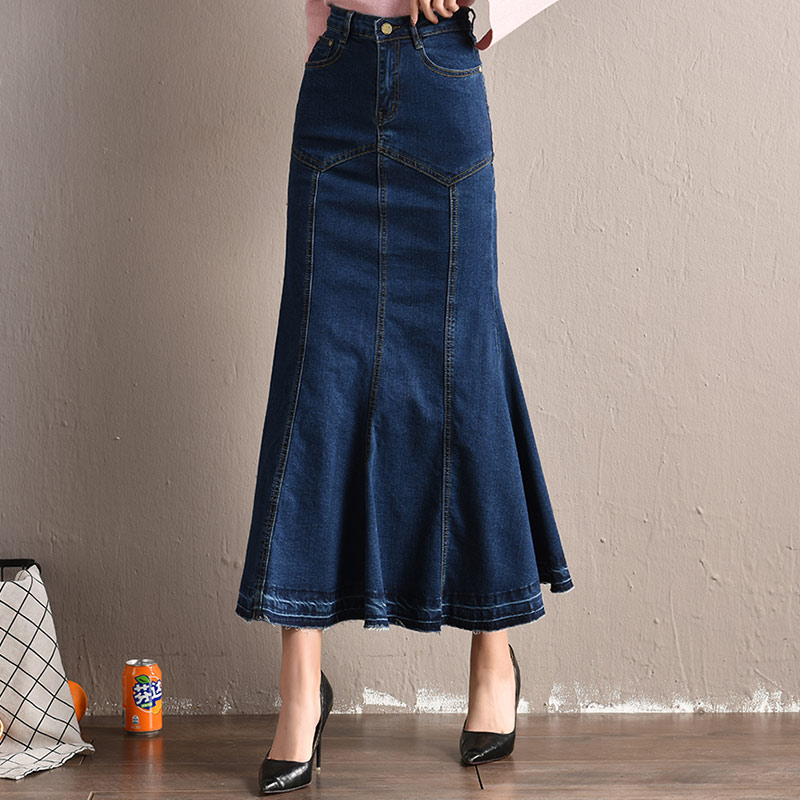 New Mermaid Denim Skirt Women Plus Size Stretchy Fish Tail Trumpet Long Skirt Ankle-Length Empire High Waist Jeans J92794