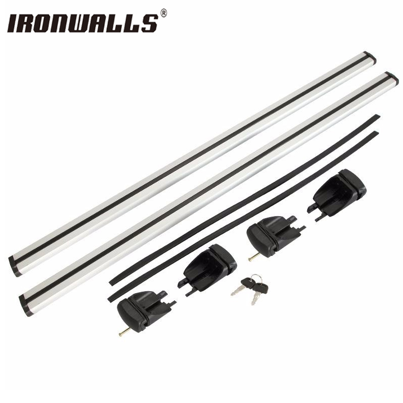 Ironwalls Universal Adjustable Silver 120cm Aluminum Car Top Roof Rack Cross Bar Luggage With Security Lock Carrier System quality new upgrade 2pcs set hatchback and sedan universal car roof rack bars min 75kgs bicycle rack with lock on sale shipping