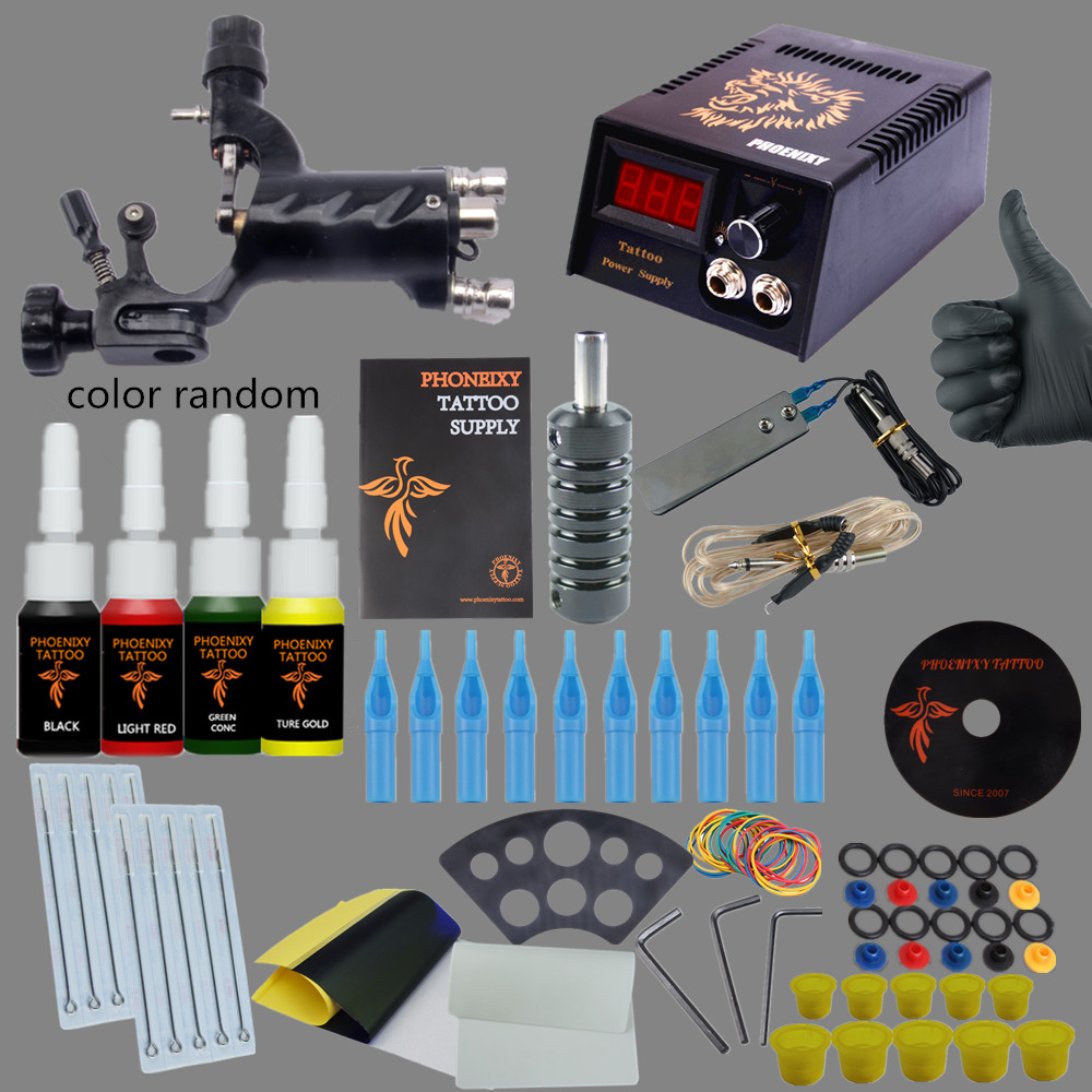 Complete Tattoo Kits 1 Rotary Tattoo Machine Sets Power Supply Disposable Needle 4 Colors 5ml Tattoo Ink LCD Tattoo Power