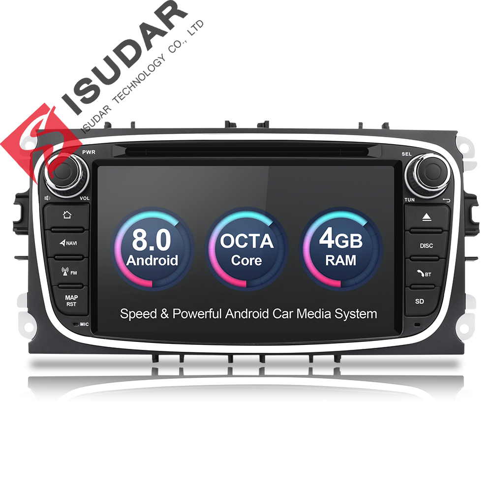 Isudar Voiture lecteur multimédia Android 8.0 GPS Autoradio 2 Din Pour FORD/Focus/Mondeo/S-MAX/C-MAX/ galaxy RAM 4 GB 32 GB Radio DSP