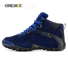 Onemix women's trekking shoes anti slip climbing shoes and wool lining female mountain shoes comfortable warm outdoor sneakers