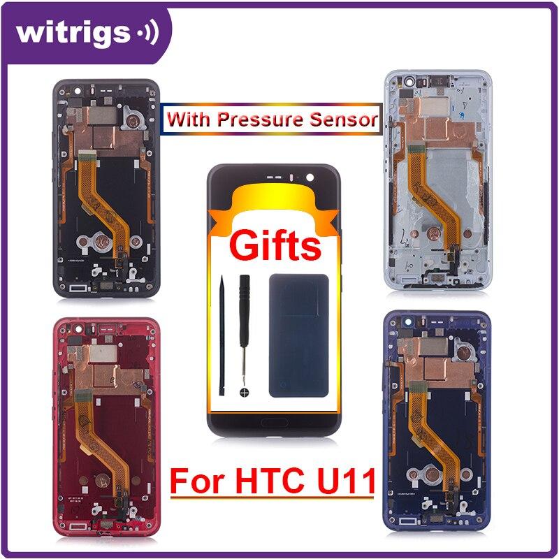 Witrigs Para HTC U11 Display LCD de Toque Substituição Digitador Da Tela com Moldura de Montagem do Sensor de Pressão
