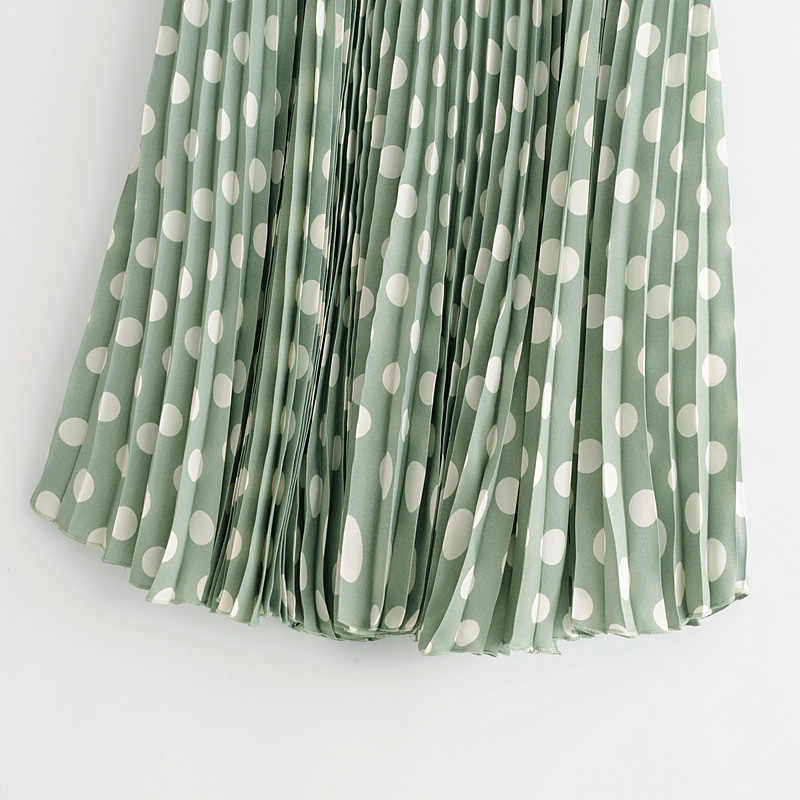 f28f3955b ... 2018 New Summer Female Skirts Women Emerald Green Wave Polka Dot  Pleated Tulle Skirt Casual Feminine ...