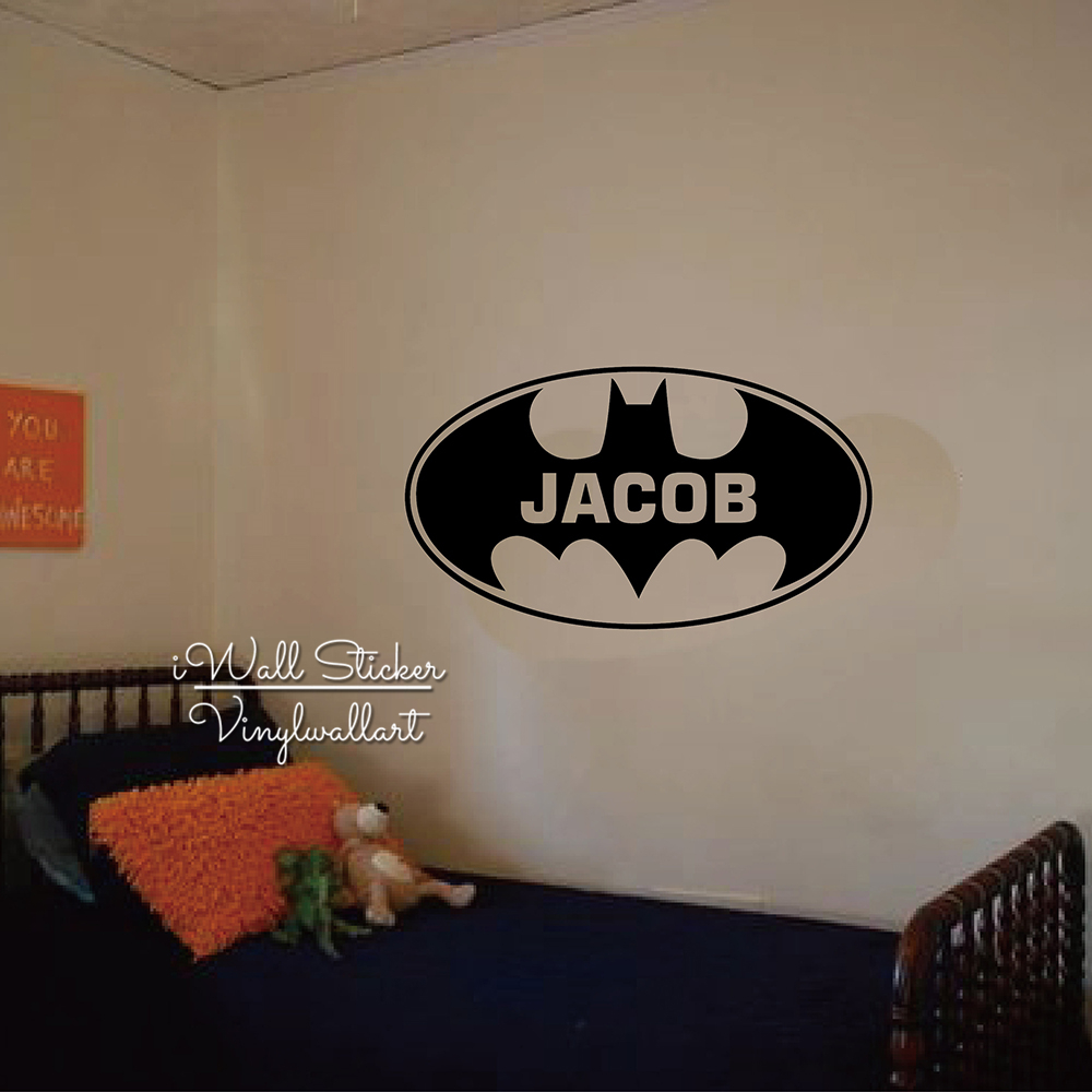 Batman Name Wall Sticker Baby Nursery Boys Name Wall Decal Personalized Children Name Stickers For Kids Room Cut Vinyl C16