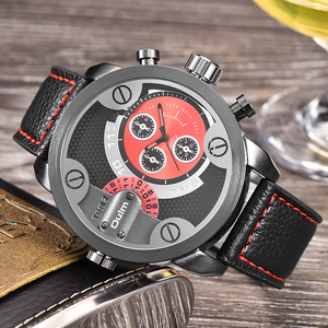 Image 4 - Oulm Watches Top Brand Luxury Fashion Quartz Sport Watch 3 Small Dials Decoration Leather Strap Men Watch Relogio Masculino