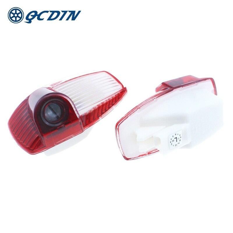 QCDIN Pair For Porsche Car LED Welcome Light Door Logo Projactor Light For Porsche Cayenne Boxster Cayman Macan 911