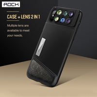 Newest ROCK Lens Kit Case for IPhone X 10 Hard PC + Soft TPU 2 In 1 Lens + Phone Case Design Back Cover for Iphone X Case Coque