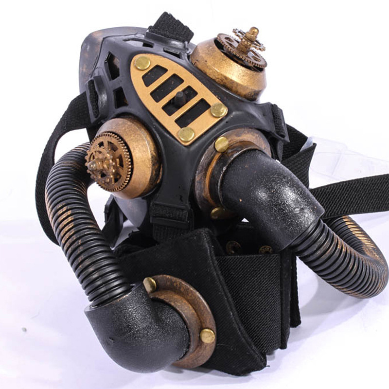 Gold metallic resin conduit gothic rave rock cool respirator gas gold metallic resin conduit gothic rave rock cool respirator gas mask halloween cosplay party mask steampunk costume accessories in costume accessories from voltagebd Images