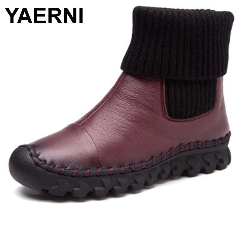 YAERNI New 2017 Women Winter Ankle Boots Handmade Velvet Flat With Boots Shoe Comfortable Casual Shoes