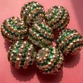 Free shipping 12mm 16mm 18mm 20mm 22mm 24mm 26mm 28mm Resin Christmas Green Gold Striped Rhinestone Beads For Bubblegum Jewelry