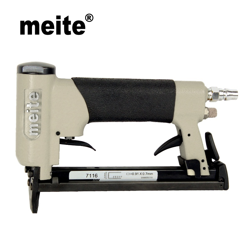 Meite 7116C air stapler 22GA crown 9.0mm fine wire staple air gun pneumatic stapler tools for furniture,car seat July.23 Update long nose fine wire air stapler gun bea type