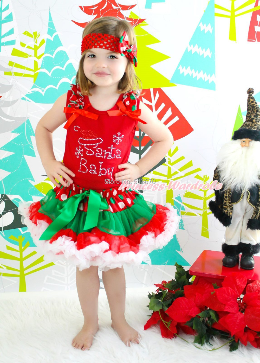 XMAS Rhinestone Santa Red Top Green White Dot Red Skirt Baby Girl Outfit 1-8Year MAPSA0072 my 1st christmas santa claus white top minnie dot petal skirt girls outfit nb 8y