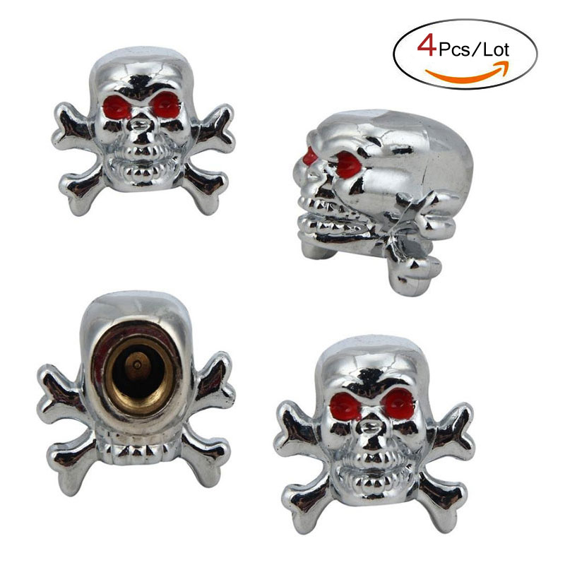Dsycar 4Pcs/Lot Copper Core Car Valve Caps Red Eyes Evil Skull Tyre Air Valve Stem Dust Caps For Car Truck Bike Top Car Styling