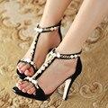 Летом новый Европейский и Американский сексуальные тонкие сандалии с высокой каблуке жемчужина бисером пальцы подвергаются тонкий Римских женщин обувь