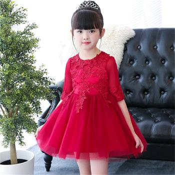 High quality long-sleeved children's dress girls birthday princess dress flower girl wedding dress wine red piano costume
