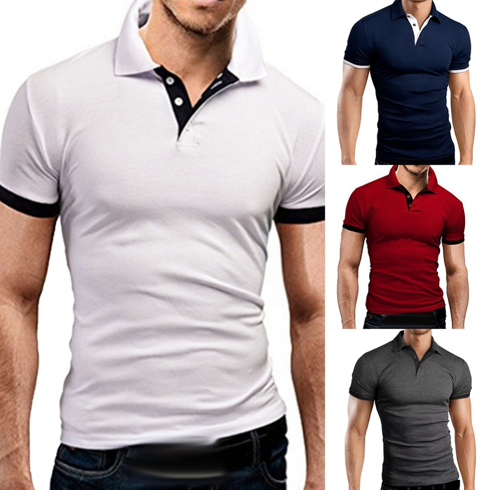 Men Short Sleeve   Polo   Shirt Summer Smart Casual Slim Fit   Polos   2 Buttons Turndown Collar Jersey Shirt Muscle Man Bottoming Top