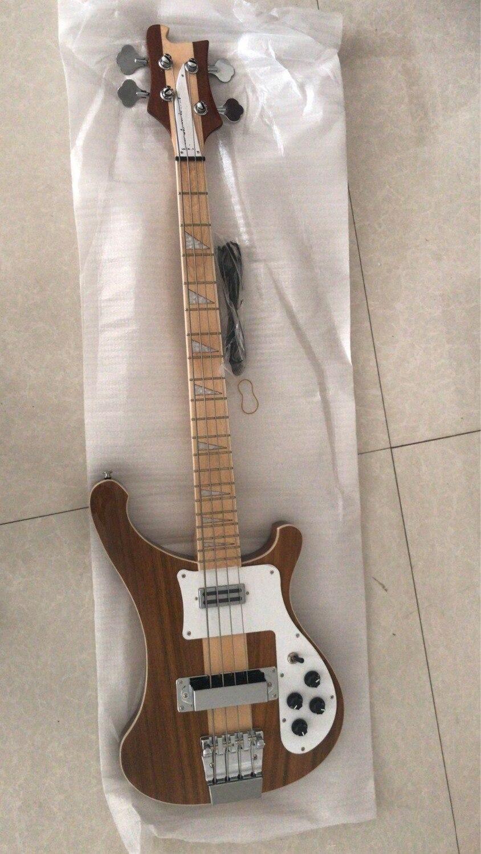 En gros Nouveau RK 4003 Électrique Basse Guitare Corps En Noyer À Travers Neck Top Qualité Dans Naturel 181016