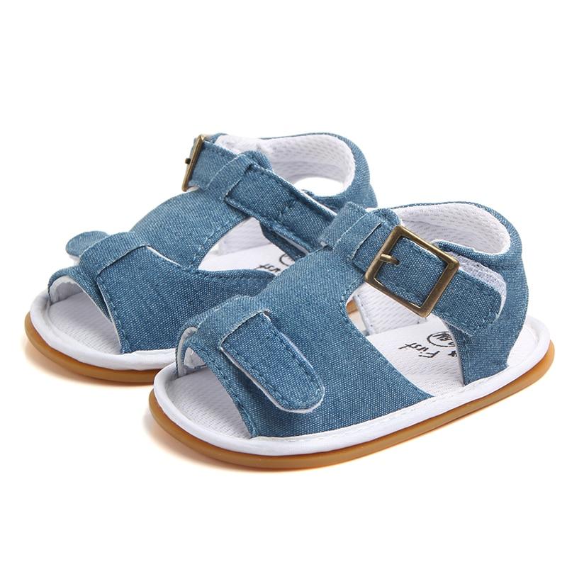 Baby Boy Girl Crib Shoes Infant Toddler Soft Sole Denim Sandals Newborn to 18 M
