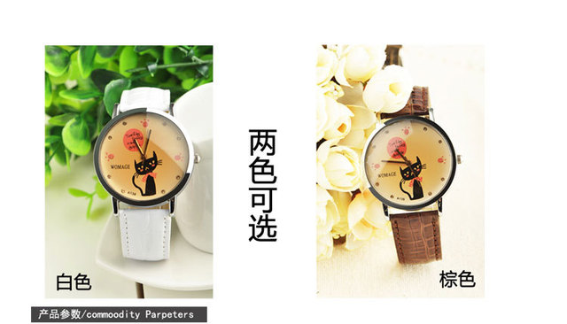 Free shipping innovative luxury famous brand woman kitty womage watch sapphire dress watch for girl leather strap