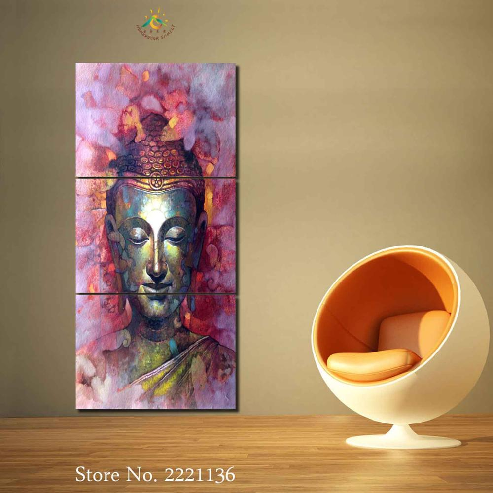 3 or 4 Pieces Religion Buddha Mosaic Gold Modern Home Wall Art Home ...