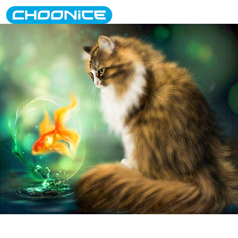 Cat Diamond Painting Yellow Cat And Goldfish DIY 3D Diamond Embroidery Small Animals Cross Stitch Pokemon Kitten Picture Mosaic