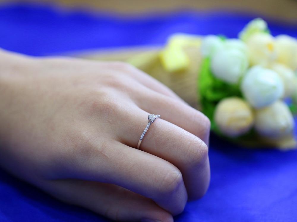 LASAMERO 0.121 CT H/SI Ronde Cut Moderne Ontwerp Natuurlijke Diamond Ring Voor Vrouwen 18 k Wit Goud Gecertificeerd Engagement Wedding Ring - 4