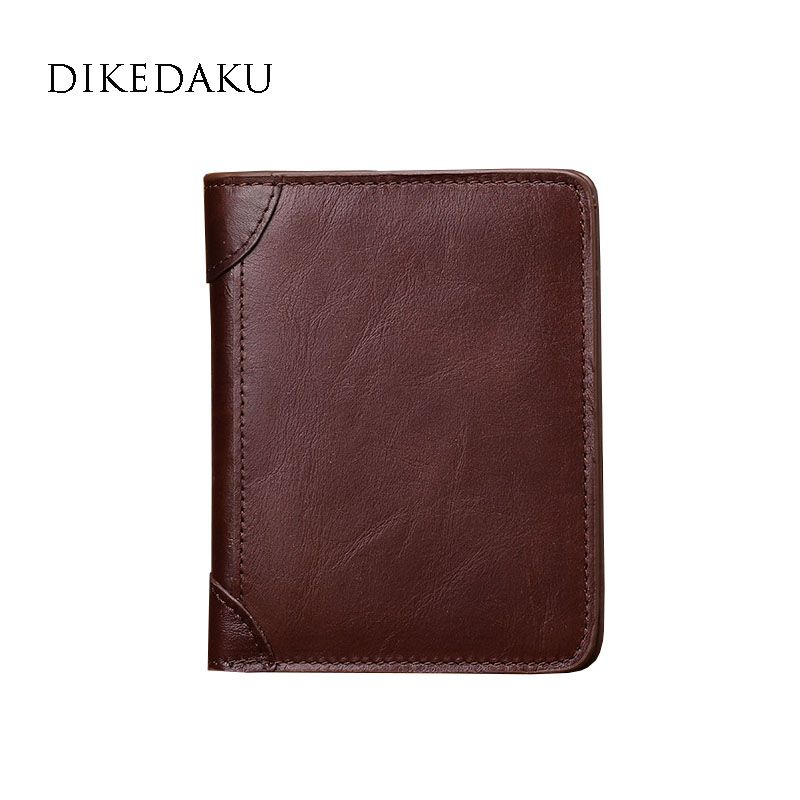 DIKEDAKU Brand Cowhide Leather Wallet Men Top Quality 100% Genuine Leather Solid Vertical Standard Wallet Male Oil Wax Purse Bag high quality 2017 new style layer of import oil wax cowhide medium paragraph buckle leather wallet men s purse
