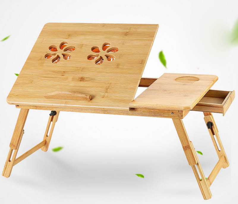 Lazy desk Foldable Portable Adjustable Bamboo Notebook Computer Stand Laptop Desk With Drawer For Bed Sofa adjustable foldable portable bamboo computer stand laptop desk notebook desk laptop table for bed sofa bed tray picnic tables