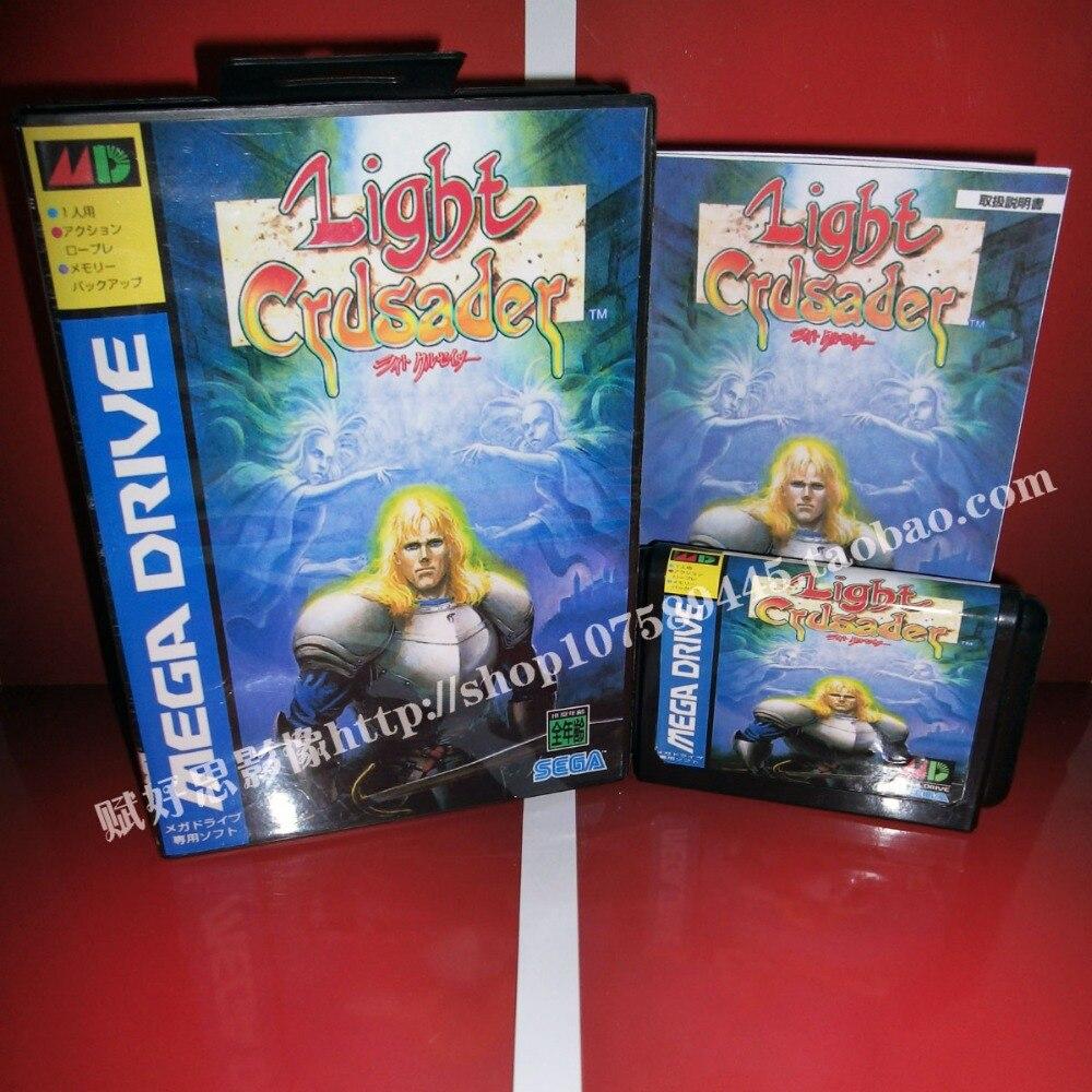 Light crusader Game cartridge with Box and Manual 16 bit MD card for Sega Mega Drive for Genesis