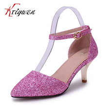 Big size 32-43 New Arrival summer Women Shoes thin High Heels glitter Shining Pointed Sexy Women Pumps Wedding Shoes For female