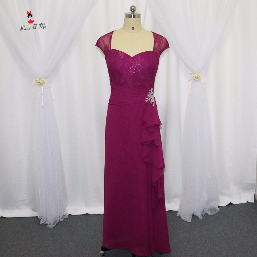 Purple Mother of the Bride Lace Dresses Custom Made Chiffon Beaded 2017 Long Evening Party Guest Wear for Weddings Godmother