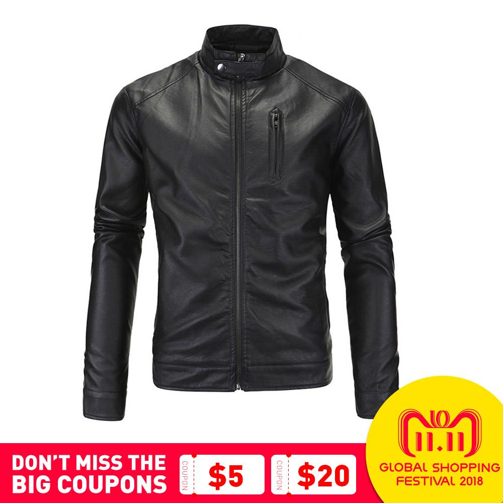 цены New Motorcycle Jacket Classic Vintage Mens PU Leather Jackets Brown Biker Jacket Coats Stand Collar Male Moto Jackets SizeM-5XL