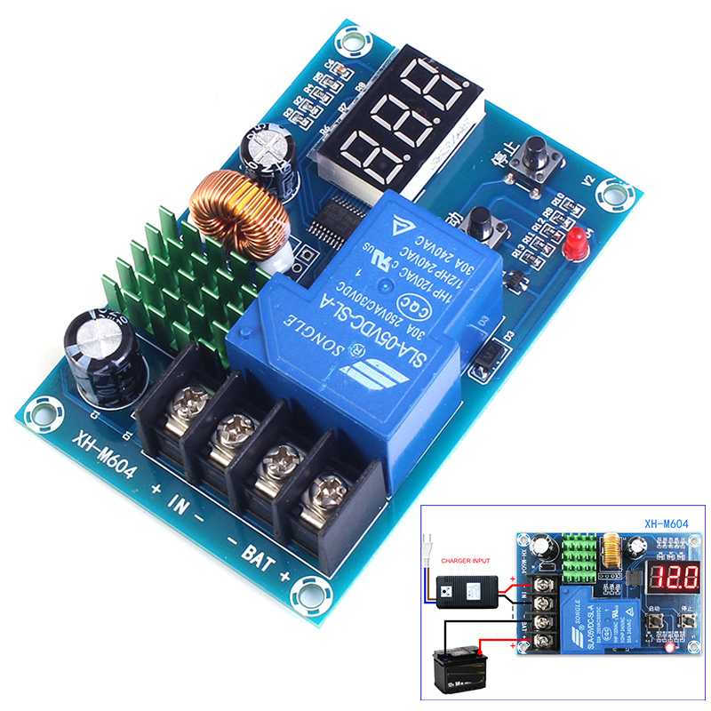 XH-M604 Battery Charger Control Module DC 6-60V Storage Lithium Battery Charging Control IC Switch Protection Board LED Display